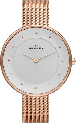 Skagen Klassik Womens Two-Hand Woven Steel Watch Rose Gold - Skagen Watches