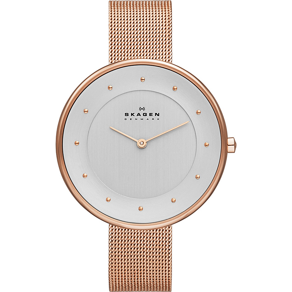 Skagen Klassik Womens Two Hand Woven Steel Watch Rose Gold Skagen Watches