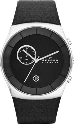 Skagen Klassik Mens Three-Hand Multifunction Leather Watch Black/Silver - Skagen Watches