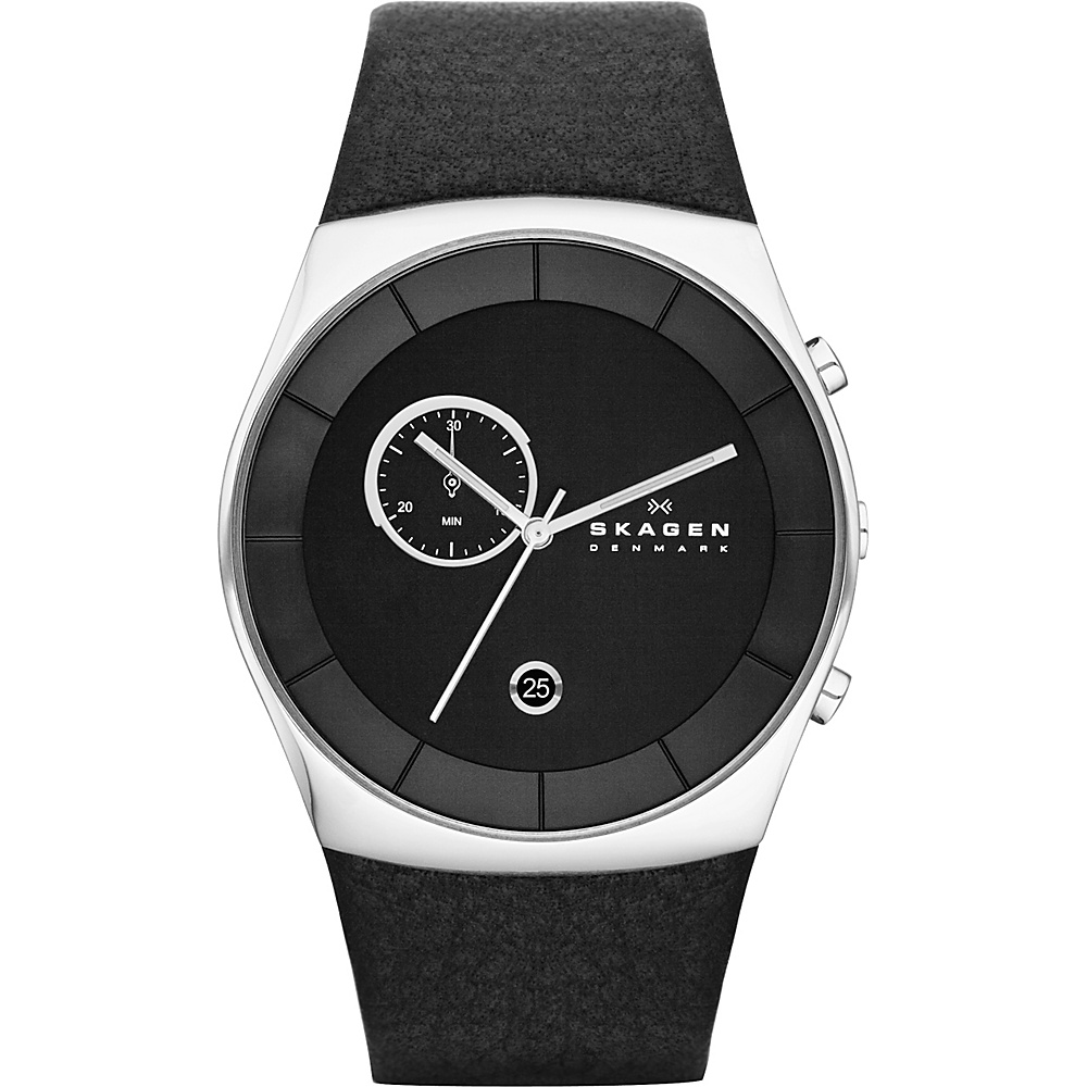Skagen Klassik Mens Three Hand Multifunction Leather Watch Black Silver Skagen Watches