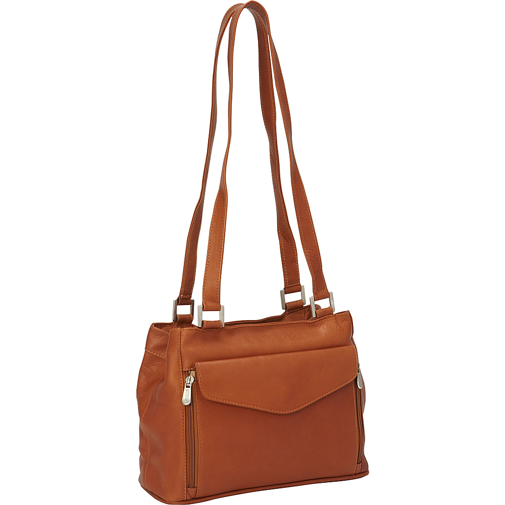 Piel Double Compartment Shoulder Bag Saddle - Piel Leather Handbags