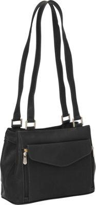 Piel Double Compartment Shoulder Bag Black - Piel Leather Handbags