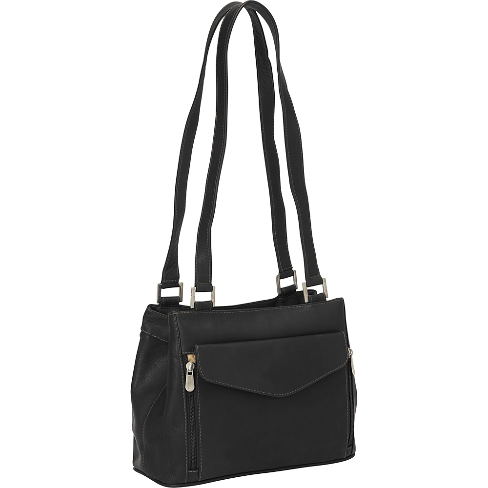 Piel Double Compartment Shoulder Bag Black - Piel Leather Handbags - Handbags, Leather Handbags