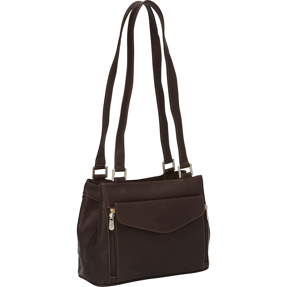 Piel Double Compartment Shoulder Bag Chocolate - Piel Leather Handbags