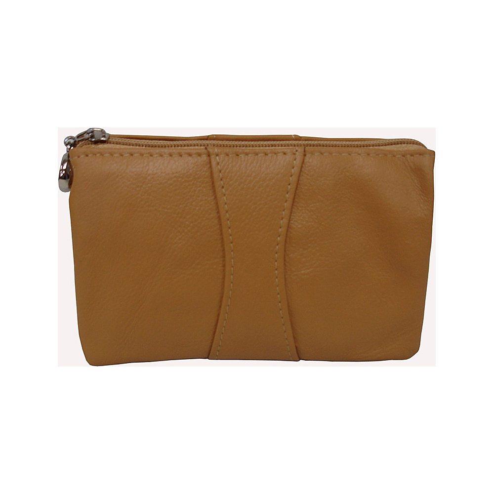 AmeriLeather Mini Zip Wristlet Tan - AmeriLeather Leather Handbags