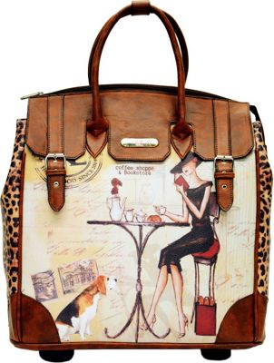 Nicole Lee Fiona Rolling Business Tote, Special Print Edition Coffee - Nicole Lee Wheeled Business Cases