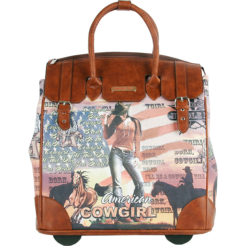 Nicole Lee Fiona Rolling Business Tote Special Print Edition Cowgirl Flag Nicole Lee Wheeled Business Cases