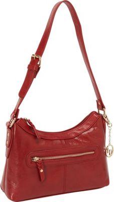 La Diva Leather Hobo with Front Pocket Red - La Diva Leather Handbags