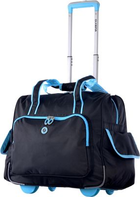 Olympia USA Rave Rolling Laptop Overnighter Black+Blue - Olympia USA Wheeled Business Cases