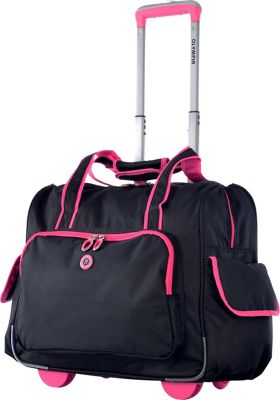 Olympia USA Rave Rolling Laptop Overnighter Black & Pink - Olympia USA Wheeled Business Cases