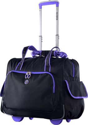 Olympia USA Rave Rolling Laptop Overnighter Black & Purple - Olympia USA Wheeled Business Cases