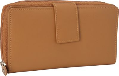 R & R Collections Leather Tab and Zip Around Wallet Camel - R & R Collections Women's Wallets