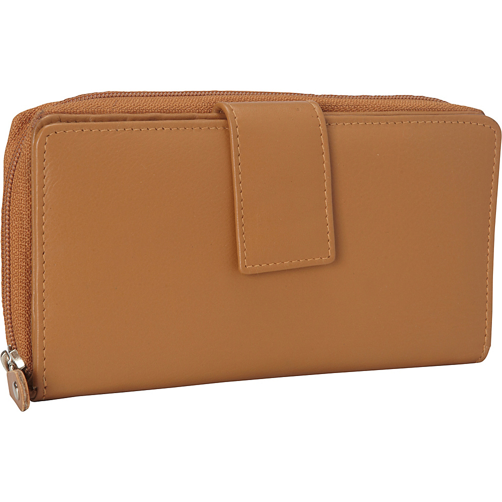 R R Collections Leather Tab and Zip Around Wallet Camel R R Collections Women s Wallets