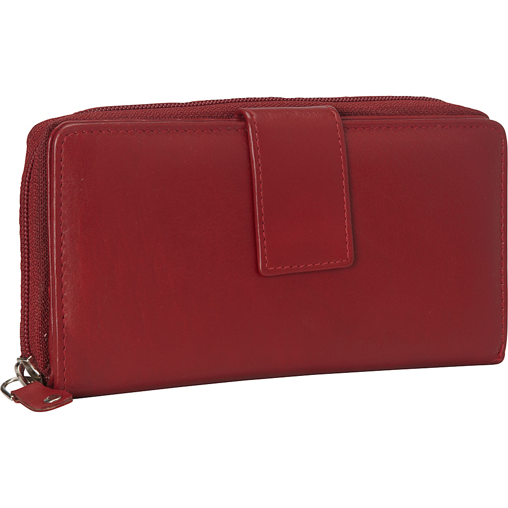 R R Collections Leather Tab and Zip Around Wallet RED R R Collections Women s Wallets