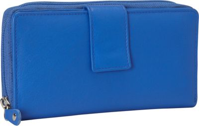R & R Collections Leather Tab and Zip Around Wallet Blue - R & R Collections Women's Wallets