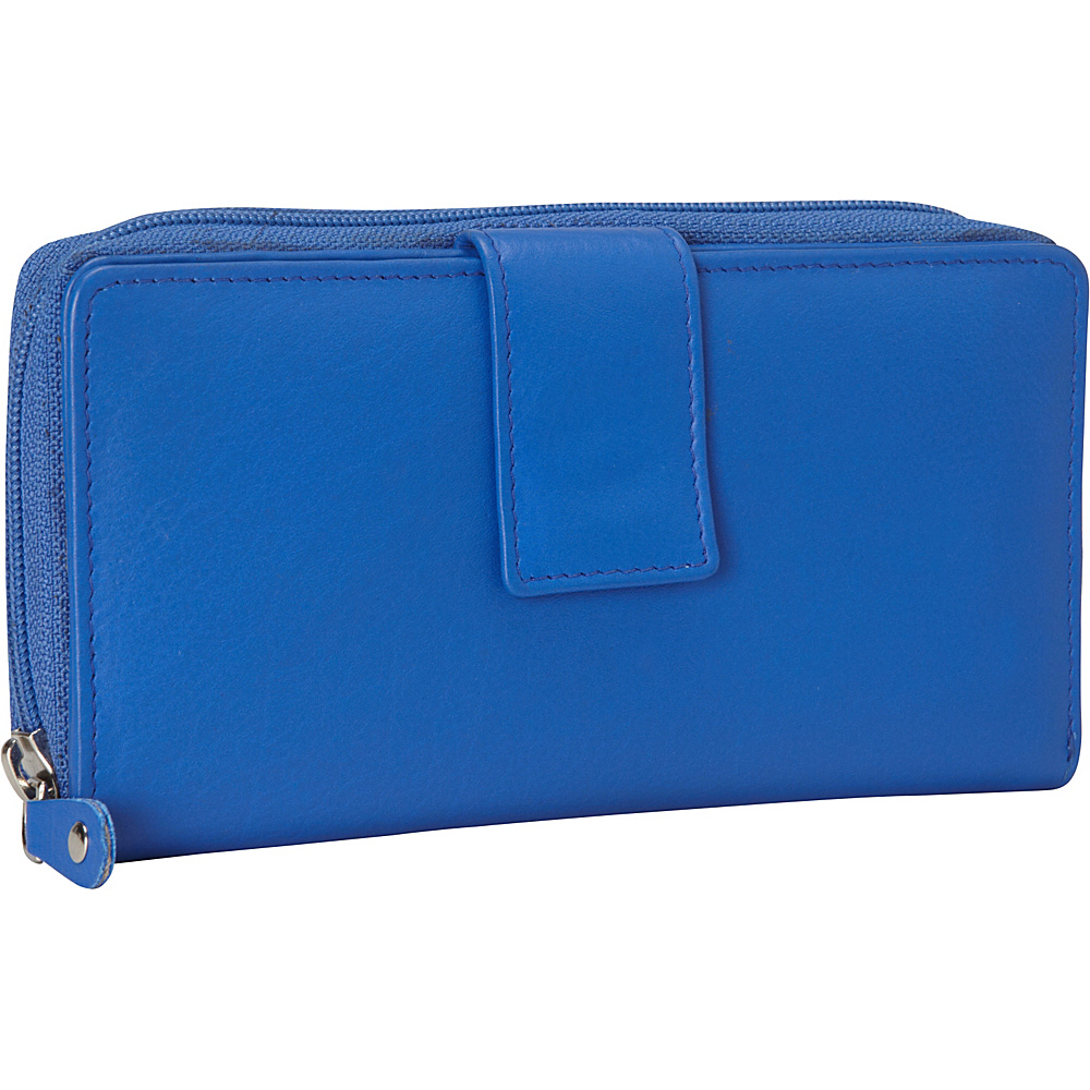 R R Collections Leather Tab and Zip Around Wallet Blue R R Collections Women s Wallets