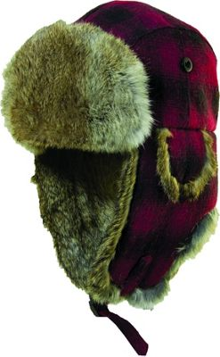 Woolrich Wool Blend Fur Trapper Hat Red/Black-Large - Woolrich Hats