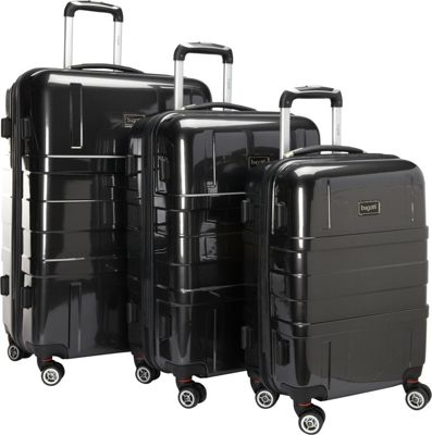 Bugatti Isle of Man Hardside 3 pc Luggage Set Black - Bugatti Luggage Sets