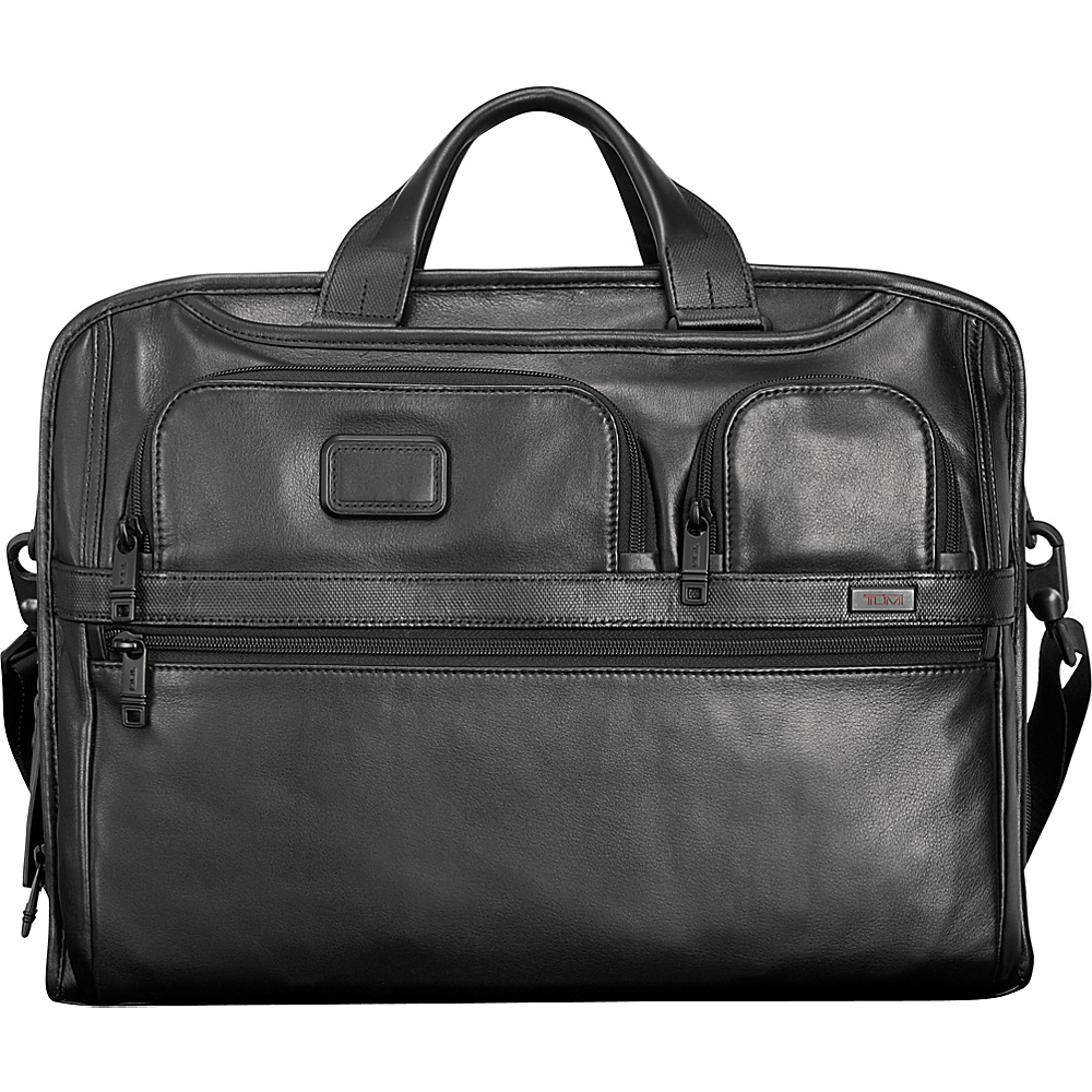 Tumi Alpha 2 Compact Large Screen Laptop Leather Brief Black Tumi Non Wheeled Business Cases