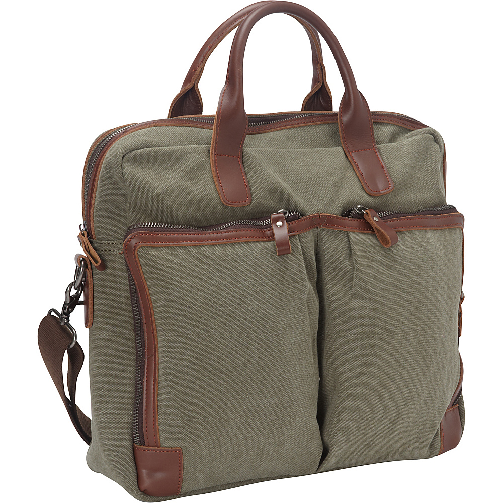 Vagabond Traveler Casual Style Cotton Canvas Large Messenger Laptop Bag Military Green - Vagabond Traveler Messenger Bags - Work Bags & Briefcases, Messenger Bags