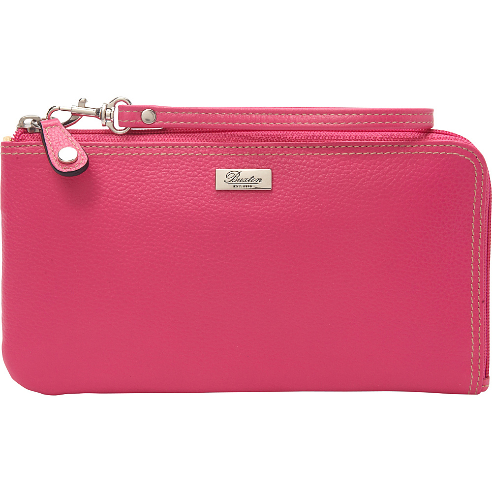 Buxton Westcott RFID L-Zip Expandable Wristlet Fuchsia Pink - Buxton Womens Wallets - Women's SLG, Women's Wallets