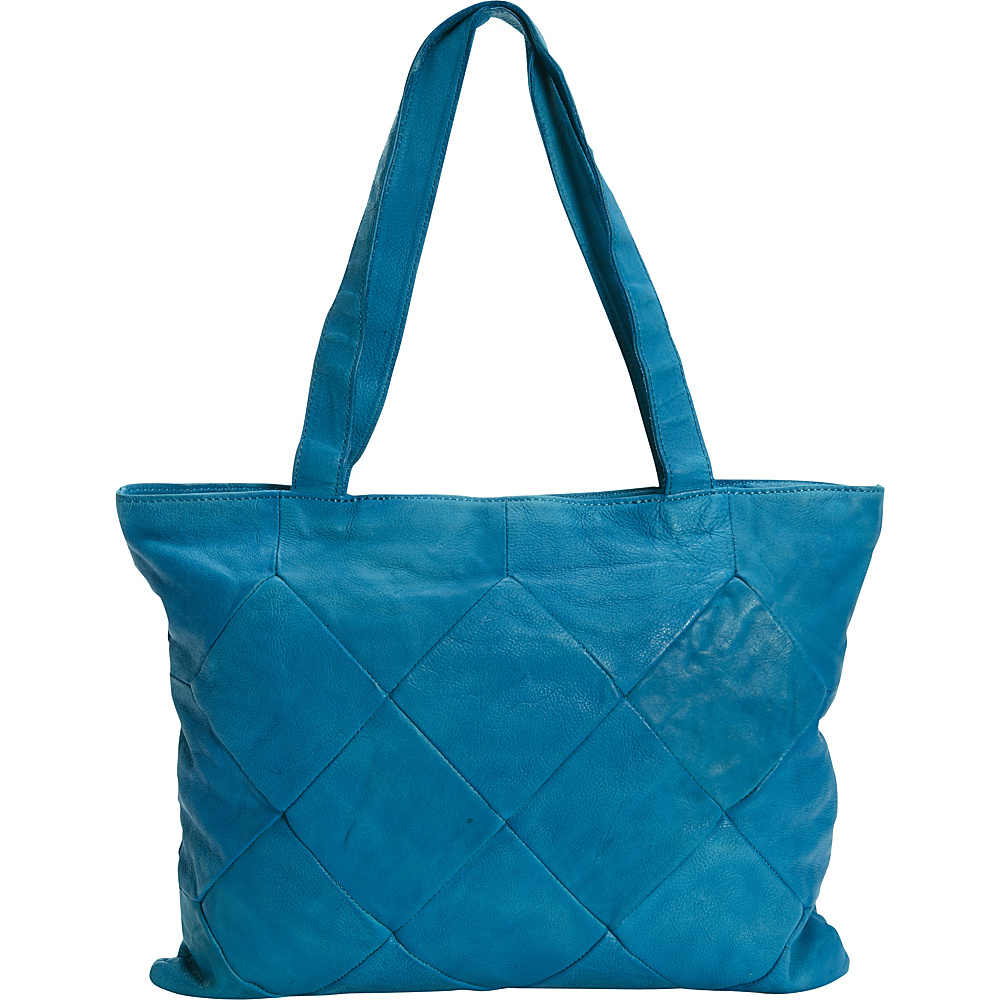 Latico Leathers Elizabeth Tote Crinkle Blue - Latico Leathers Leather Handbags - Handbags, Leather Handbags