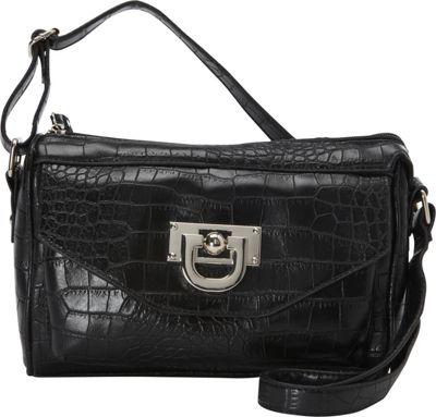 Donna Bella Designs Vicki Snake-Embossed Crossbody Bag Black - Donna Bella Designs Manmade Handbags