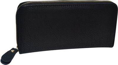 R & R Collections Single Zip Around Ladies Wallet Black - R & R Collections Women's Wallets