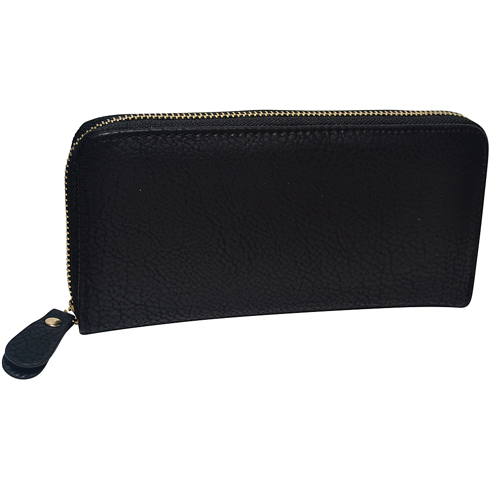 R R Collections Single Zip Around Ladies Wallet Black R R Collections Women s Wallets