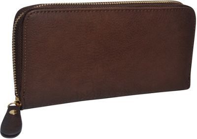 R & R Collections Single Zip Around Ladies Wallet Brown - R & R Collections Women's Wallets