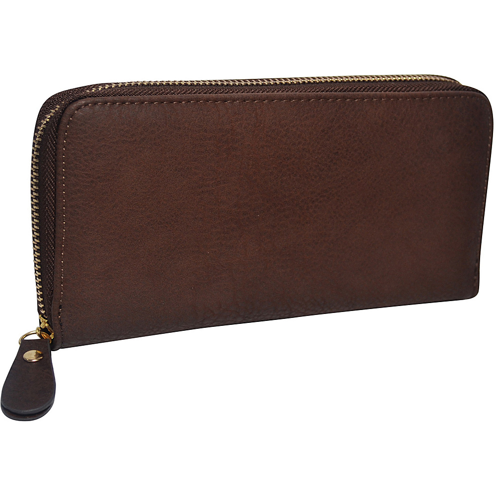 R R Collections Single Zip Around Ladies Wallet Brown R R Collections Women s Wallets