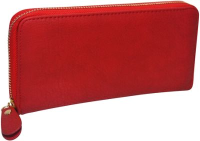 R & R Collections Single Zip Around Ladies Wallet Red - R & R Collections Women's Wallets