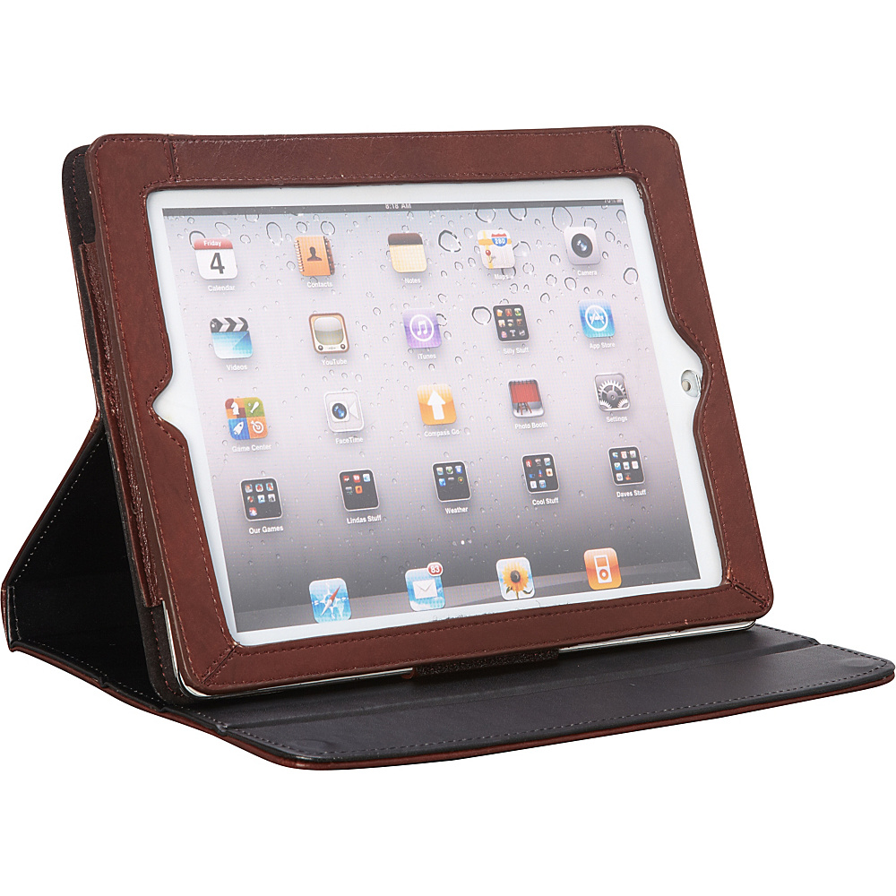 Latico Leathers Deluxe iPad Case with Easel Brown - Latico Leathers Electronic Cases - Technology, Electronic Cases