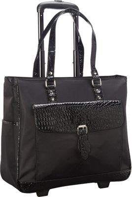 Heritage Nylon Twill & Patent Croco Rolling Laptop Tote Bag Black - Heritage Wheeled Business Cases
