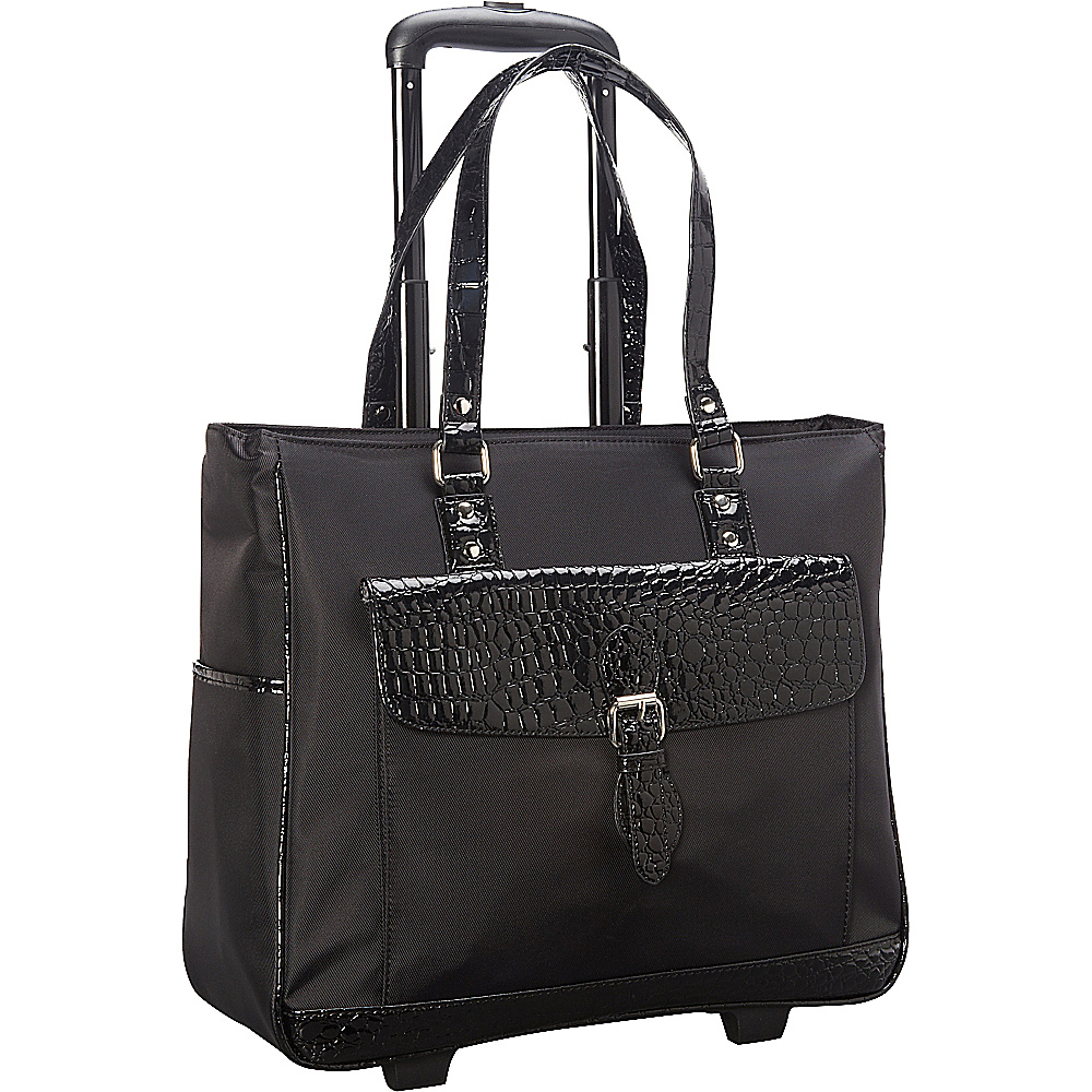 Heritage Nylon Twill Patent Croco Rolling Laptop Tote Bag Black Heritage Wheeled Business Cases