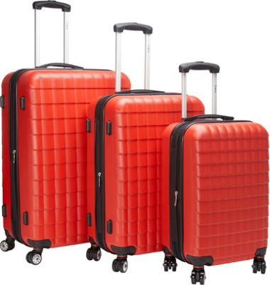 McBrine Luggage Eco friendly 3Pc Hardside Luggage Set Red...
