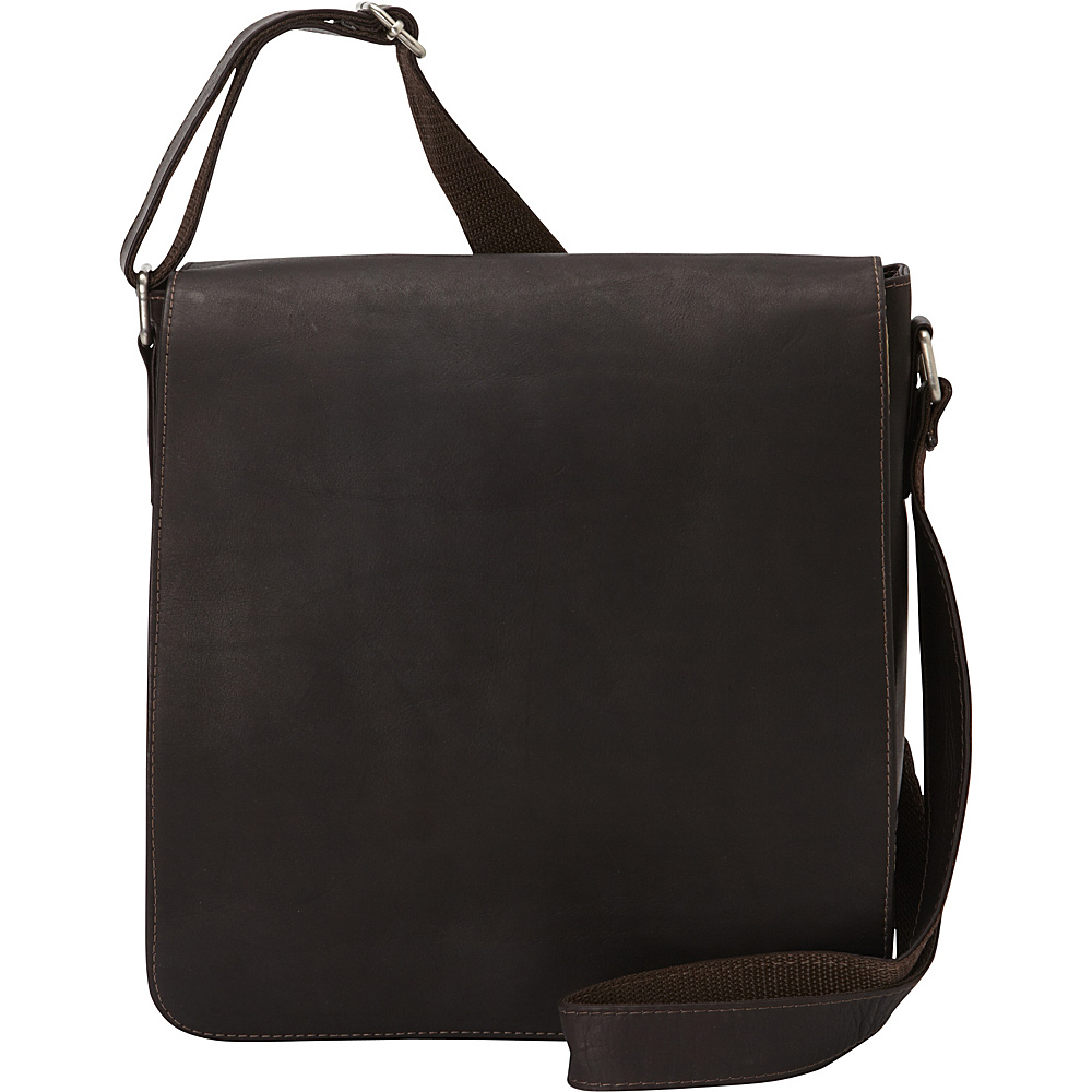 Piel Small Tablet Vertical Messenger Chocolate - Piel Messenger Bags - Work Bags & Briefcases, Messenger Bags