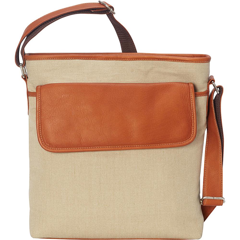 Piel Front Flap Shoulder Bag Saddle - Piel Fabric Handbags - Handbags, Fabric Handbags