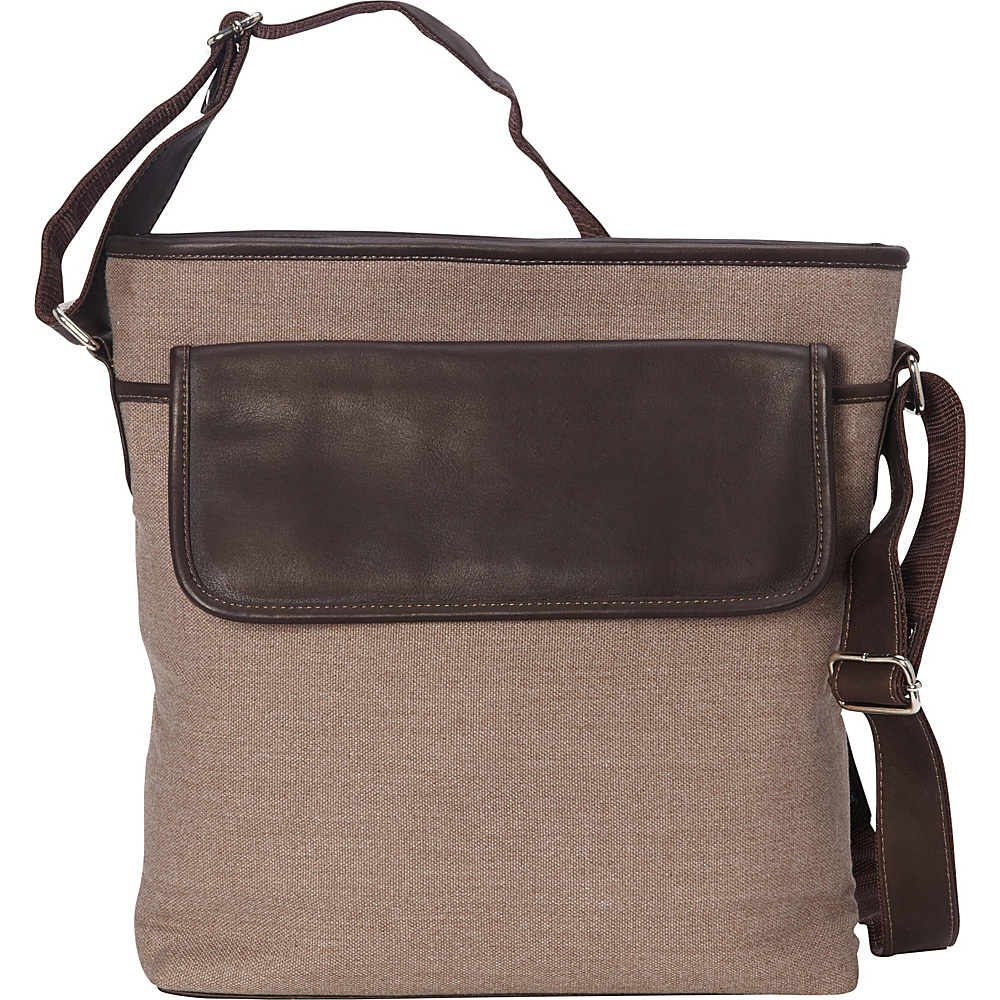Piel Front Flap Shoulder Bag Chocolate - Piel Fabric Handbags - Handbags, Fabric Handbags