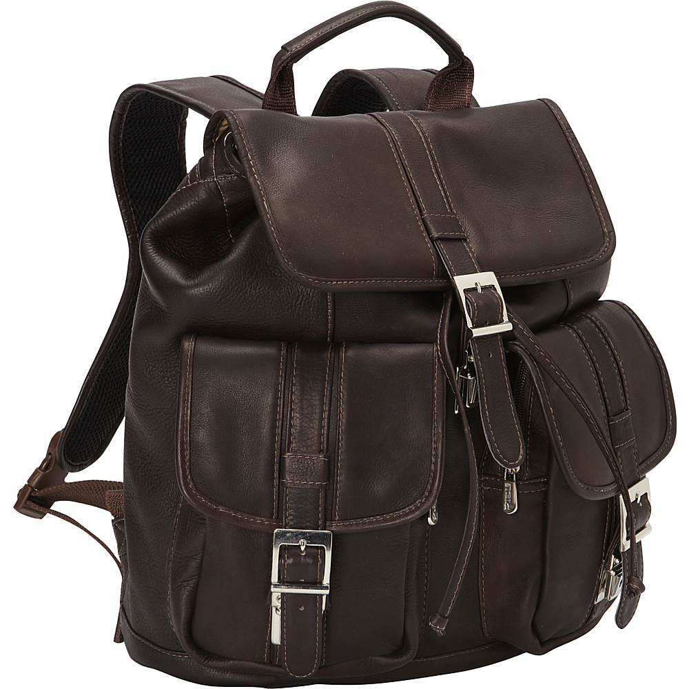 Piel Medium Drawstring Backpack with Two Front Pockets Chocolate - Piel Everyday Backpacks