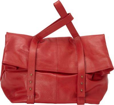 Sharo Leather Bags Oversized Handheld Satchel Red - Sharo Leather Bags Leather Handbags