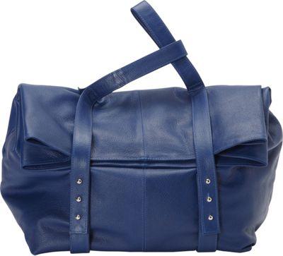 Sharo Leather Bags Oversized Handheld Satchel Blue - Sharo Leather Bags Leather Handbags