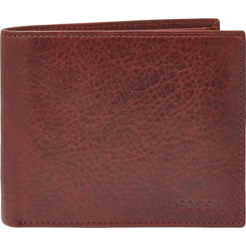Fossil Ingram Large Coin Pocket Bifold Wine - Fossil Mens Wallets - Work Bags & Briefcases, Men's Wallets