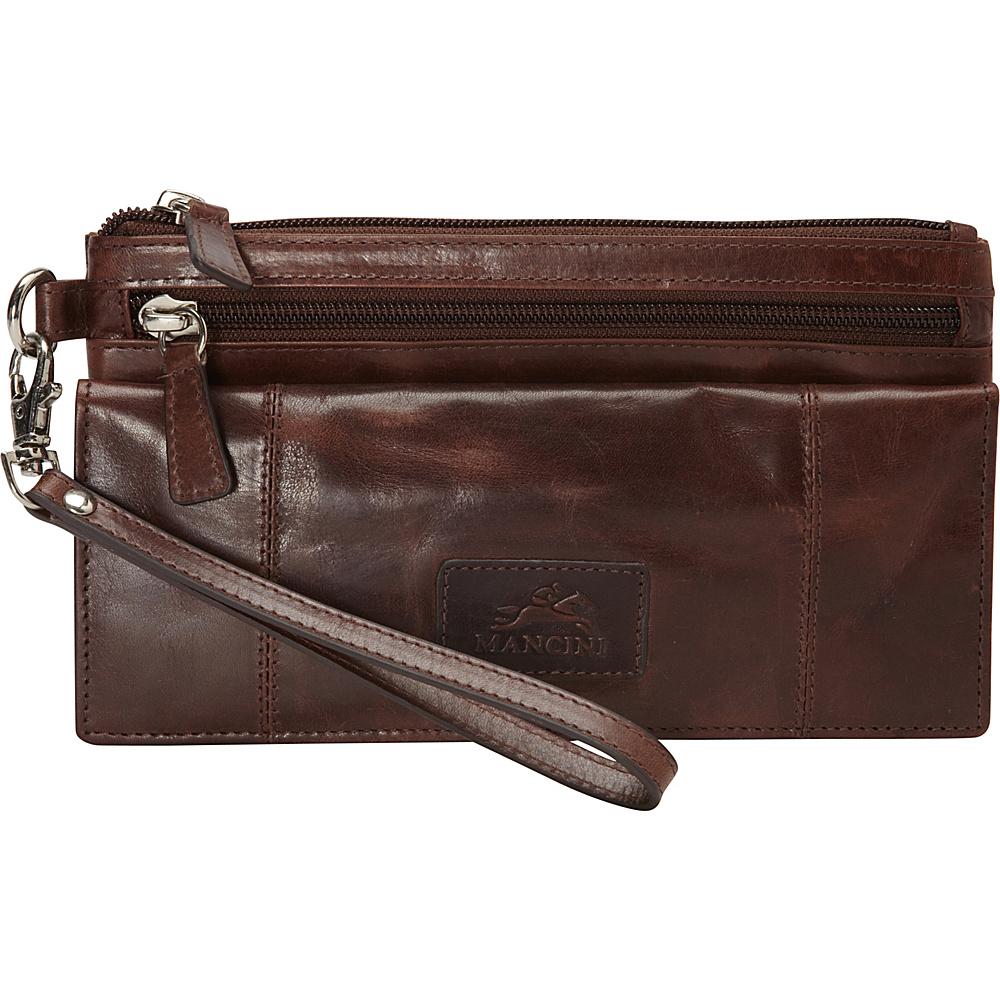 Mancini Leather Goods Ladies RFID Wristlet Brown Mancini Leather Goods Women s Wallets