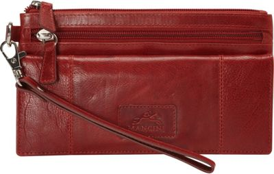 Mancini Leather Goods Casablanca Collection: Ladies Large RFID Wristlet Red - Mancini Leather Goods Women's Wallets
