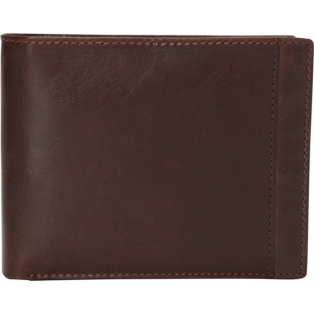 Mancini Leather Goods Mens RFID Billfold with Removable Passcase Brown Mancini Leather Goods Men s Wallets