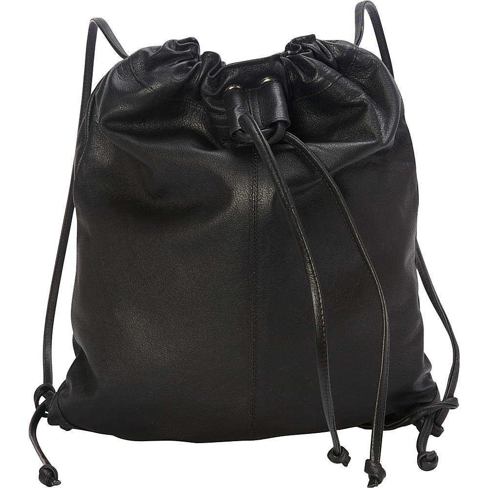 Sharo Leather Bags Small Leather Drawstring Backpack Handbag Black - Sharo Leather Bags Leather Handbags