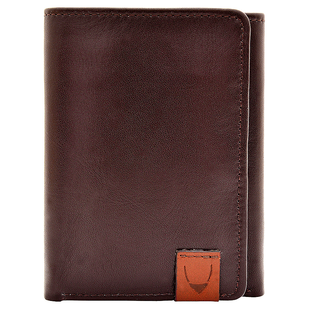 Hidesign Dylan Compact Trifold Leather Wallet with ID Window Brown Hidesign Men s Wallets