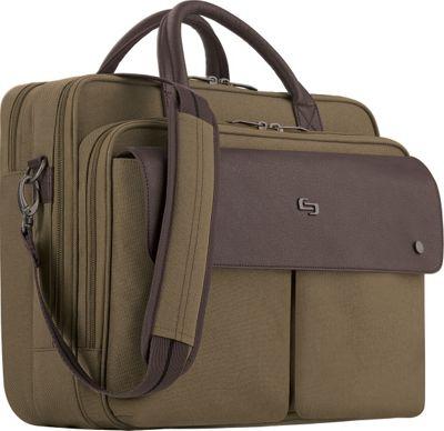 SOLO Executive 15.6 inchLaptop Briefcase Khaki - SOLO Non-Wheeled Business Cases