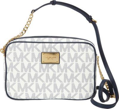 MICHAEL Michael Kors Jet Set Large E/W Crossbody Navy/White - MICHAEL Michael Kors Designer Handbags